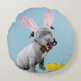 Easter pitbull puppy round pillow
