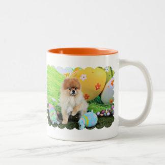 Easter - Pomeranian - Dexter Two-Tone Coffee Mug
