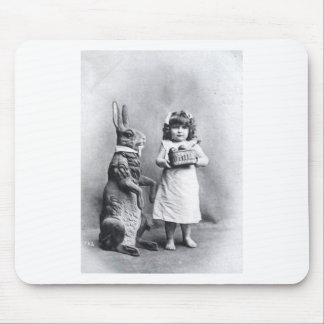 Easter Post Card Huge Rabbit and Sweet Girl Mousepad