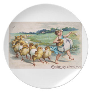 Easter Post Card Marching Band Chicks Melamine Plate