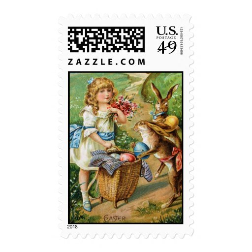 Easter Post Card Victorian Girl Easter Bunnies Bas Postage Stamp