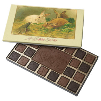 Easter Postcard Victorian Bunny Design Assorted Chocolates