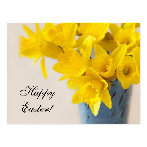 Easter postcard with daffodils