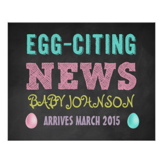 Easter Pregnancy Announcement Chalkboard Sign