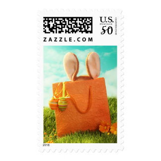 Easter Present with Rabbit and Easter Eggs Postage