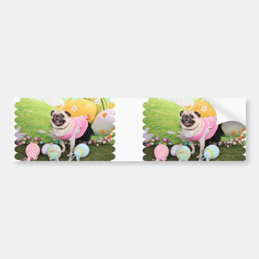 Easter - Pug -Hannah Bumper Stickers
