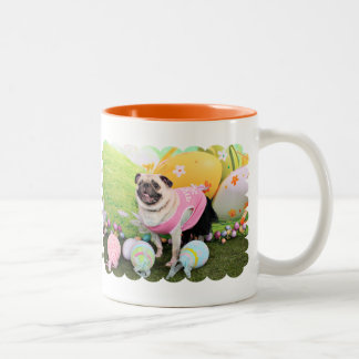 Easter - Pug -Hannah Two-Tone Coffee Mug