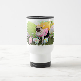 Easter - Pug -Hannah 15 Oz Stainless Steel Travel Mug