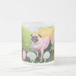 Easter - Pug -Hannah 10 Oz Frosted Glass Coffee Mug