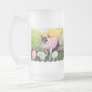 Easter - Pug -Hannah 16 Oz Frosted Glass Beer Mug