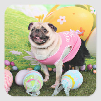 Easter - Pug -Hannah Square Sticker