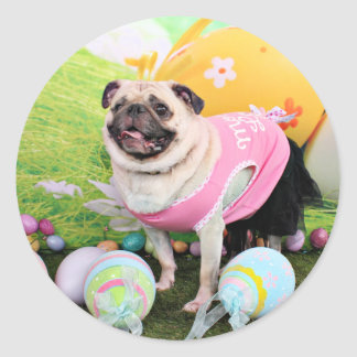Easter - Pug -Hannah Classic Round Sticker