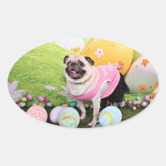 Easter - Pug -Hannah Oval Sticker