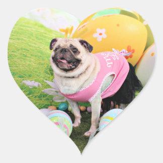 Easter - Pug -Hannah Heart Sticker