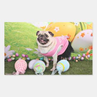 Easter - Pug -Hannah Rectangular Sticker