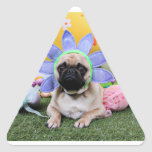 Easter - Pug - Louie Triangle Sticker