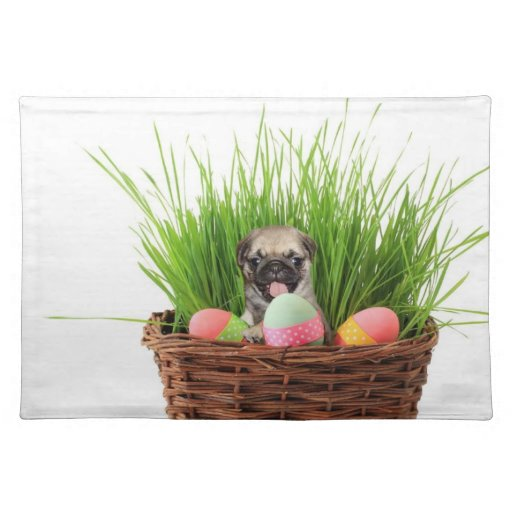 Easter pug puppy place mats