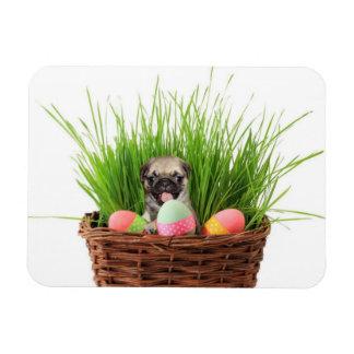 Easter pug puppy rectangular photo magnet