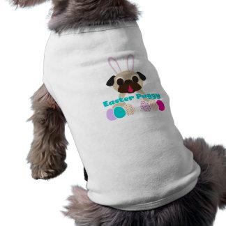 Easter Puggy Pug Bunny With Easter Eggs Dog Shirt