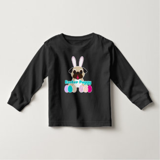 Easter Puggy Pug Bunny With Easter Eggs Tee Shirt