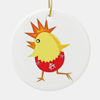 Easter Punk Rock Chicken Ceramic Ornament