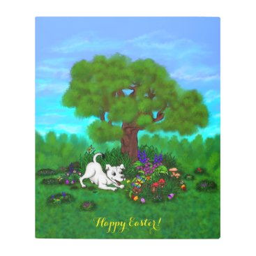 Easter - Puppy Capo and Butterfly Metal Print