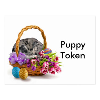 Easter Puppy Token Postcard