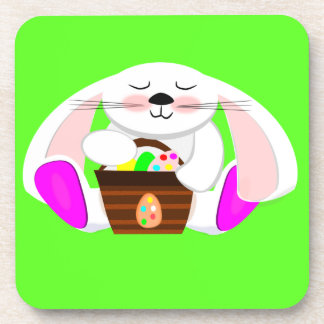 Easter Rabbit And A Basket of Eggs Beverage Coaster