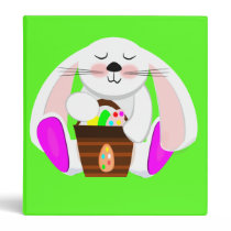 Easter Rabbit And A Basket of Eggs Binder