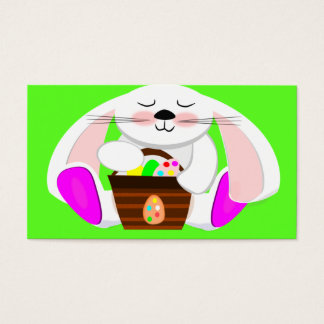 Easter Rabbit And A Basket of Eggs Business Card