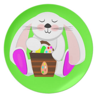 Easter Rabbit And A Basket of Eggs Dinner Plate