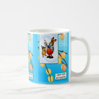 Easter rabbit and chick having a chat coffee mug