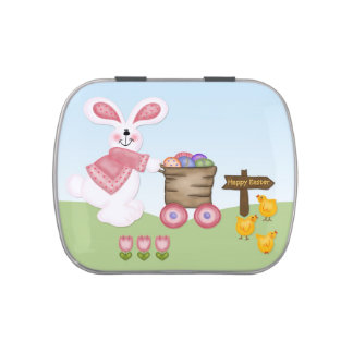 Easter Rabbit and Chicks Jelly Belly Candy Tin