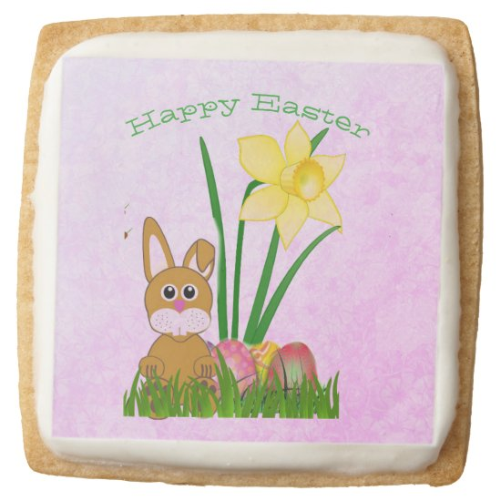 Easter Rabbit and Daffodils Sugar Cookie