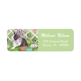 Easter Rabbit and Eggs Label