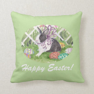 Easter Rabbit and Eggs Throw Pillow