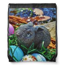 Easter Rabbit and golf ball basket Drawstring Backpack