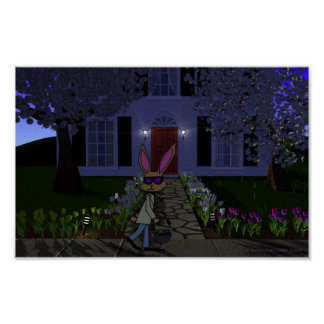 Easter Rabbit and House Poster