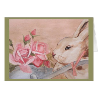 Easter Rabbit and Roses Card