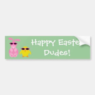 Easter Rabbit & Chick With Sunglasses Bumper Sticker