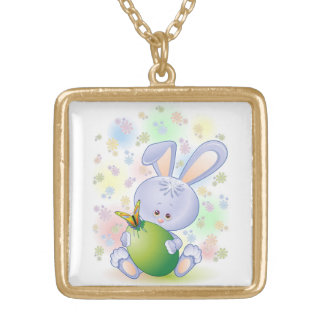Easter Rabbit Egg and Flowers Necklace