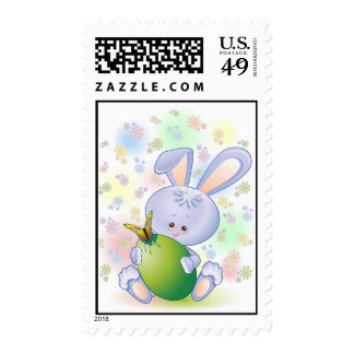 Easter Rabbit Egg and Flowers Postage Stamp