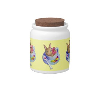 Easter Rabbit in Tea Cup Candy Jars