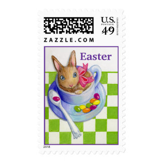 Easter Rabbit in Tea Cup Customizable Name Stamp