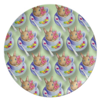 Easter Rabbit in Tea Cup Dinner Plate