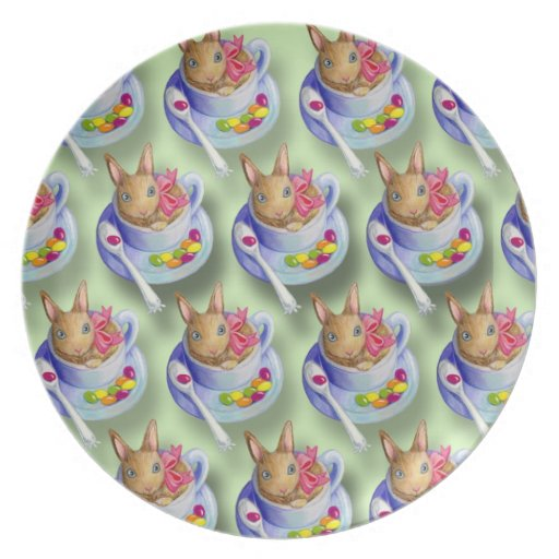 Easter Rabbit in Tea Cup Plate