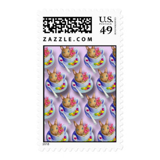 Easter Rabbit in Tea Cup Postage Stamps