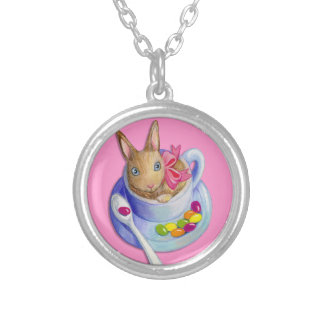 Easter Rabbit in Tea Cup Silver Plated Necklace