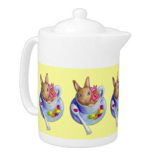 Easter Rabbit in Tea Cup Teapot