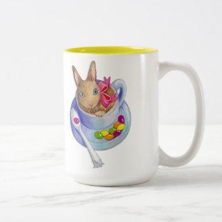 Easter Rabbit in Tea Cup Two-Tone Coffee Mug